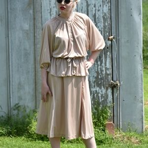 Vintage Champagne Cream Top And Skirt Set